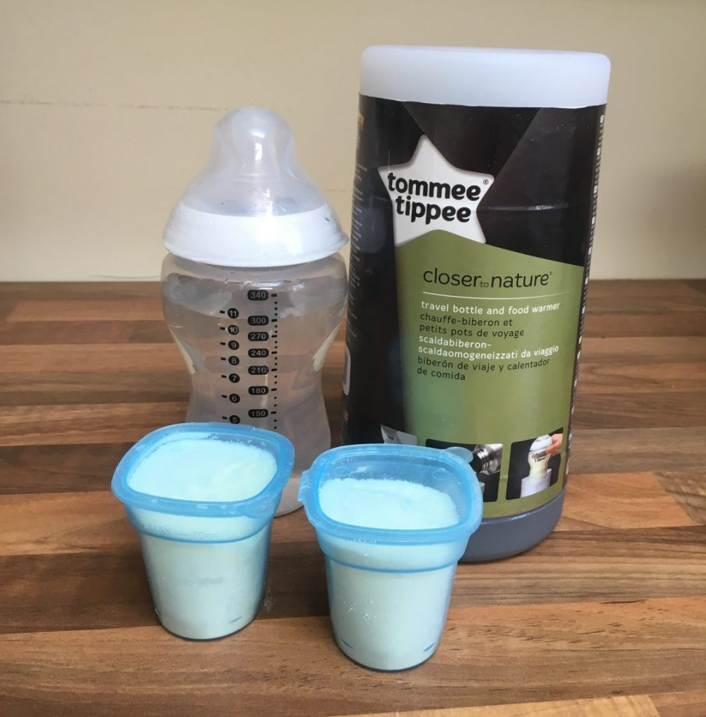Tommee Tippee flask, baby bottle and milk powder dispensers