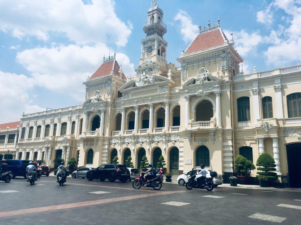 A white impressive palace in Ho Chi Minh City, Vietnam