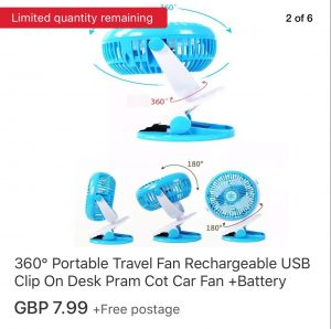 Image of a blue USB fan that is portable and can be used to keep a baby cool in hot climates. Simply, fasten the fan to the side of any pram.