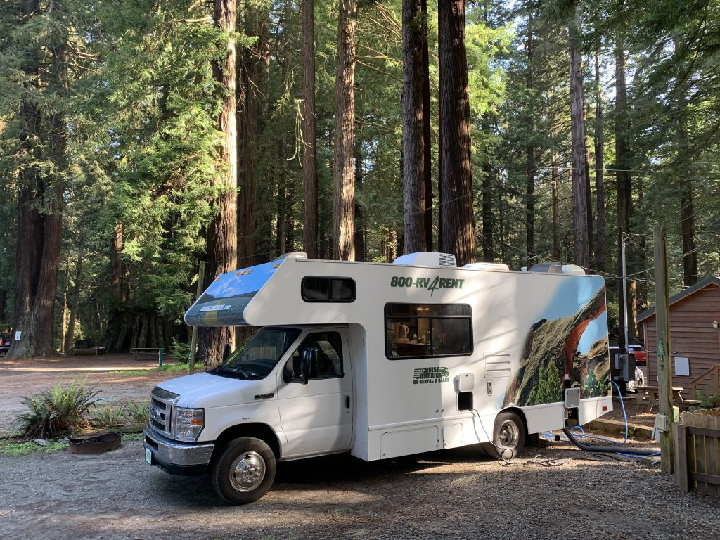 Cruise America RV parked in amongst the famous California Redwood trees.