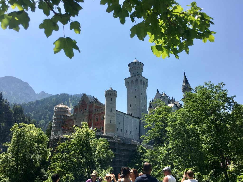 View of the west side of Neuschwanstein castle in Germany.