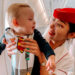 GEORGE AND FLIGHT ATTENDENT ON WAY TO DUBAI