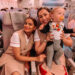 gemma and george, baby george playing with flight hostess on dubai flight