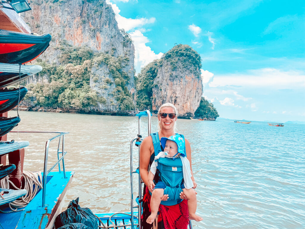 GEMMA AND GEORGE ON BOAT IN PHI PHI ISLANDS THAILAND